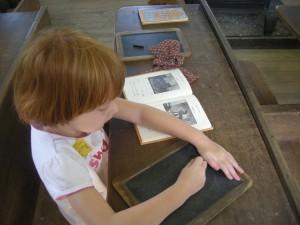 Montessori Schmontessori, MAM sat right down with her primer and slate!