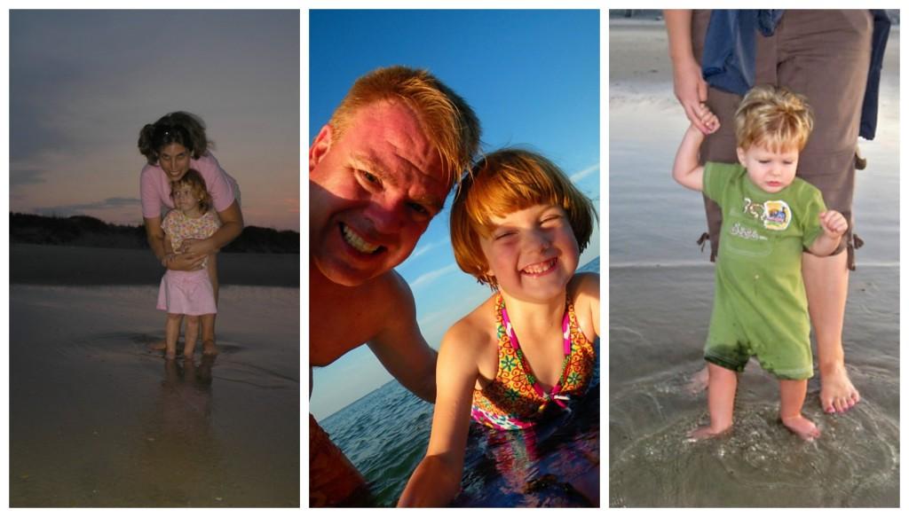 kids stepping in ocean