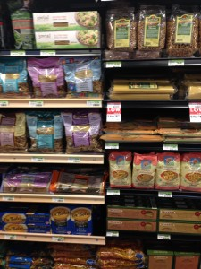 See the different shelving? The wood accent denotes Gluten Free items across the store.