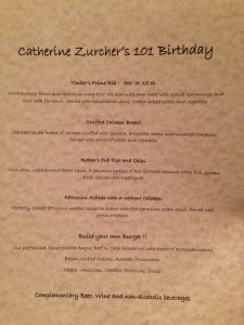 birthday menu