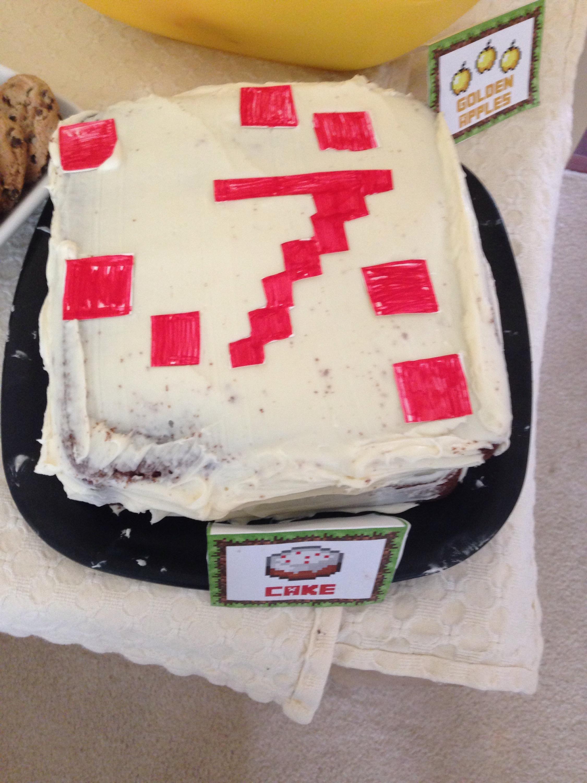 homemade Minecraft  cake
